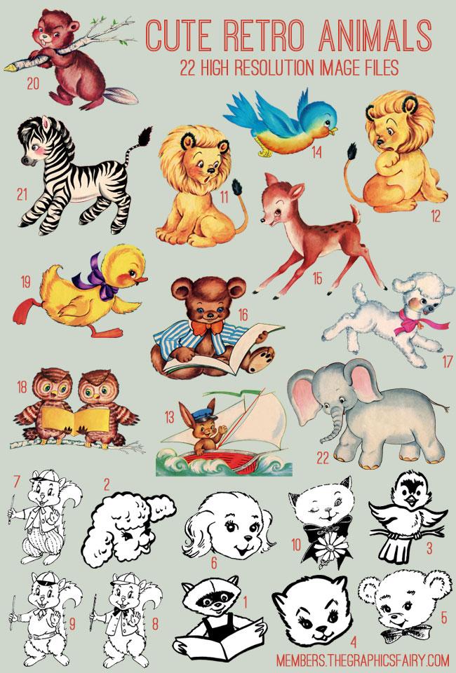 retro_animals_image_list_graphicsfairy