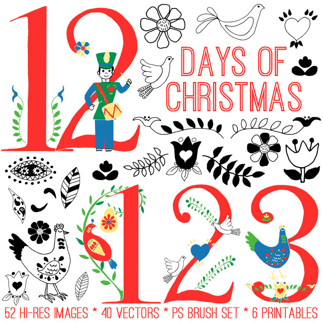 This is a picture of Simplicity 12 Days of Christmas Images Printable