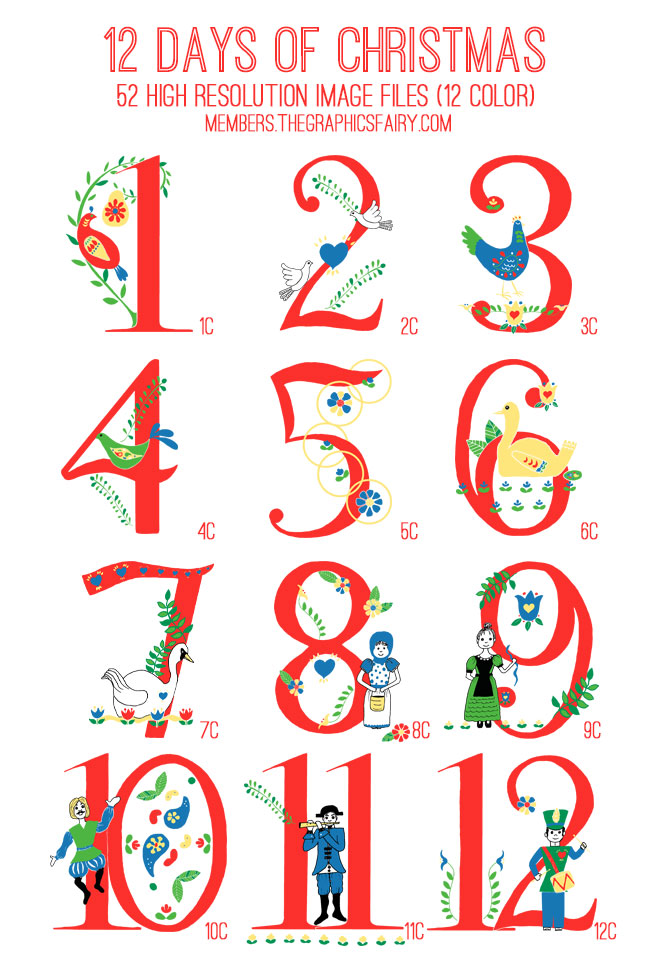 Adaptable image throughout 12 days of christmas images printable