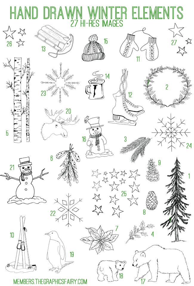drawn_winter_elements_image_list_graphicsfairy