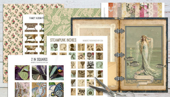 photograph of table top with vintage image printables with scissors